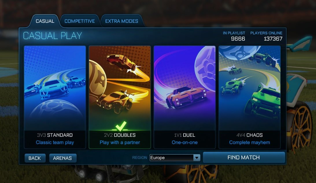 Competitive Playlists in Rocket League